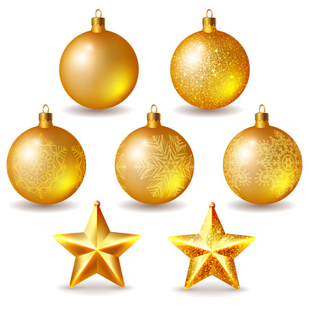 christmas tree ball: Set of golden Christmas balls and stars isolated on white Illustration