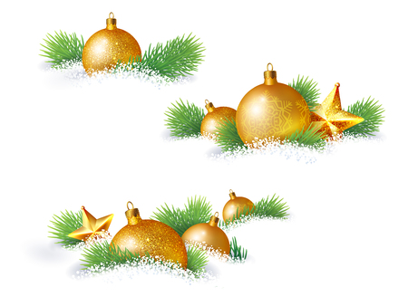 lie: Christmas decorations and pine branches, which lie in the snow Illustration
