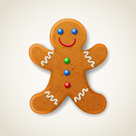 Christmas gingerbread man, decorated colored icing