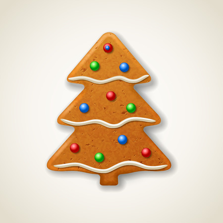 firtree: Christmas gingerbread fir-tree, decorated colored icing Illustration