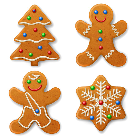 Set of Christmas gingerbread, decorated colored icing Vettoriali