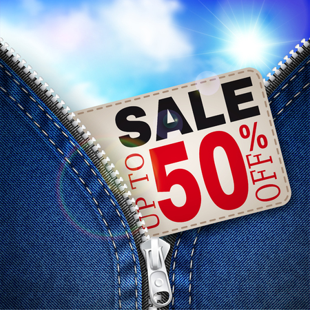 share prices: Denim background with open zipper, coupon for discounts and blue sky Illustration