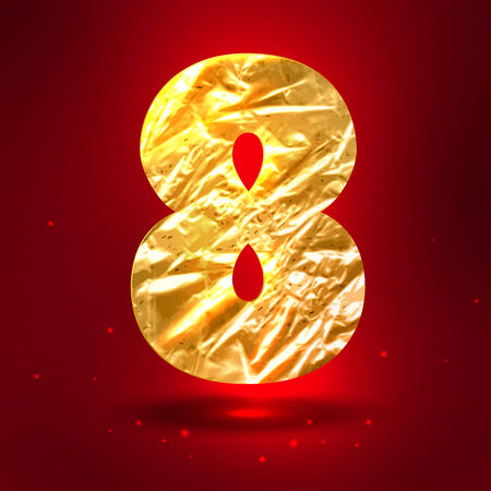 8 years birthday: Figure 8, made of shiny golden crumpled foil Illustration