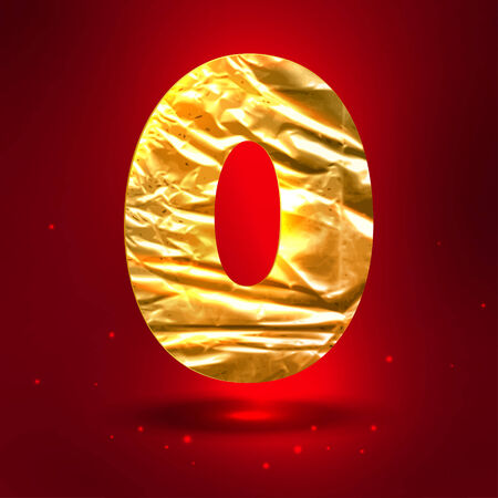 Figure 0, made of shiny golden crumpled foil