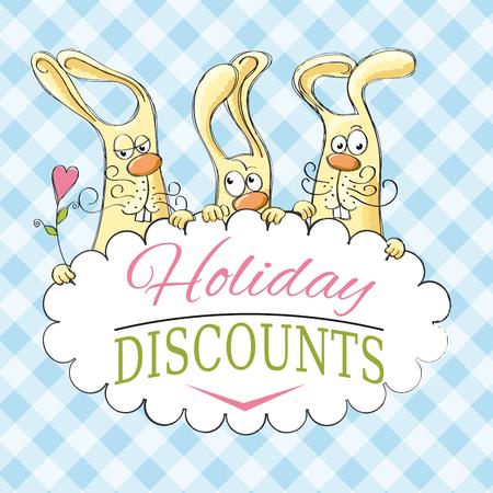 Vakantiekortingen met grappige konijnen Stock Illustratie