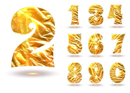 Set of golden numbers isolated on white, made of crumpled foil Vector