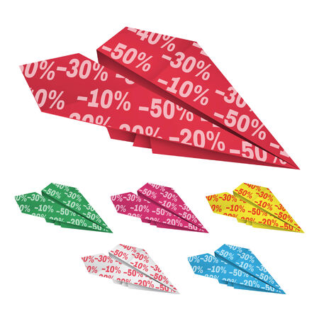 Set of colored paper airplanes with percent discounts Isolated on white Illustration
