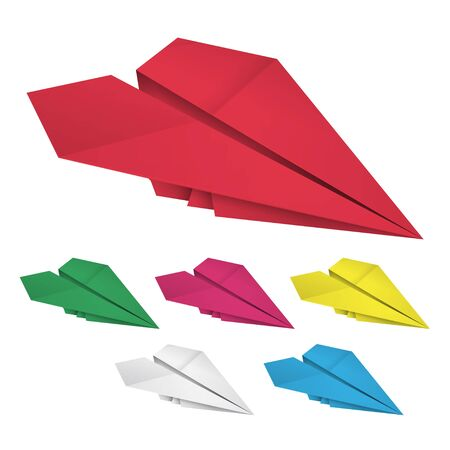 storefronts: Set of colored paper airplanes Isolated on white