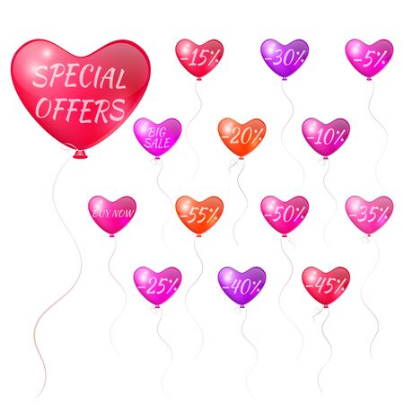 storefronts: Balloons with discounts in the form of hearts
