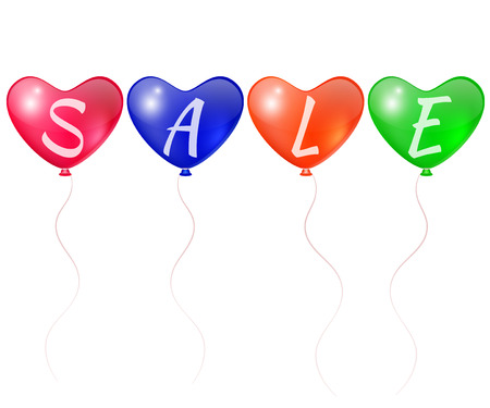 Inscription discounts on color balloons Illustration