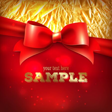 Greeting card template, holiday background with red bow and foil Illustration