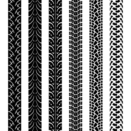 Collection motorcycle tire tracks, seamless texture and brush to create them Illustration