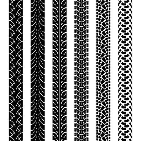 Verzameling motorfiets band tracks, naadloze textuur en borstel om ze te maken