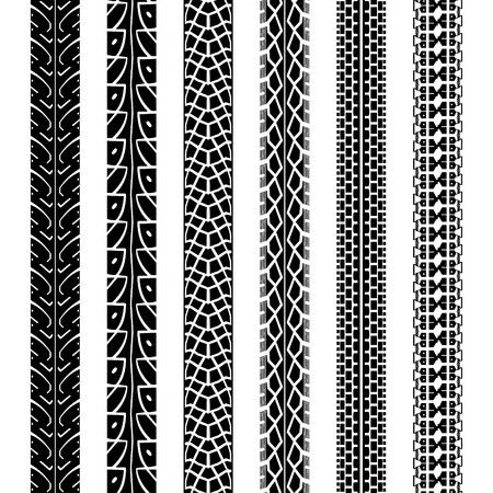 Collection motorcycle tire tracks, seamless texture and brush to create them Vectores