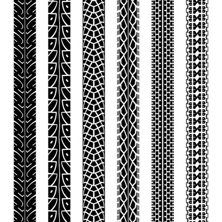 neumaticos: Huellas de los neum�ticos de la motocicleta Colecci�n, textura perfecta y cepillo para crearlos