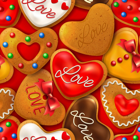 Seamless background with Happy Valentines day cookies