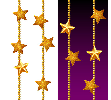 Set of shiny golden chains, decorated with stars, isolated on white and black
