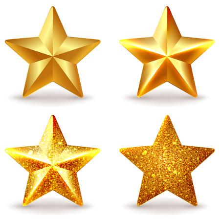 dorado: Conjunto de brillantes estrellas de oro, aislado en blanco Vectores