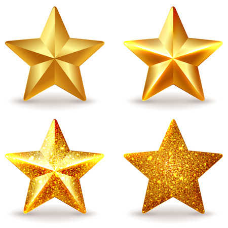 five stars: Set of shiny golden stars, isolated on white