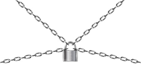 Metal chain and padlock, isolated on white