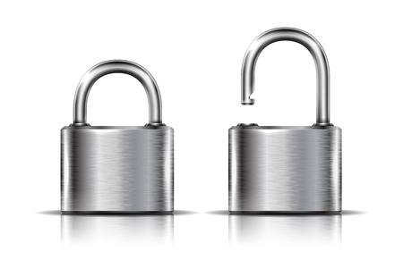 2 つのアイコン - 白で隔離され、オープンおよびクローズ ポジションで南京錠