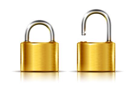 Twee iconen - gouden hangslot in de open en gesloten stand, geïsoleerd op wit Stockfoto - 35966890