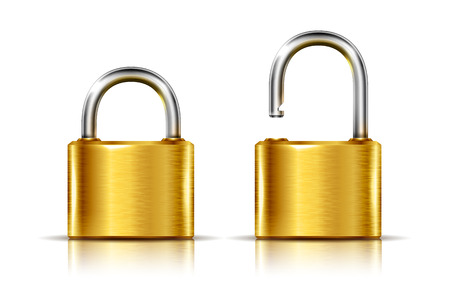 closed lock: Two icons -- golden padlock in the open and closed position, isolated on white