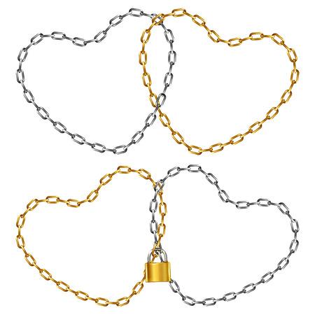 geketend: Twee hart-vormige ketting, aangesloten en geketend hangslot, geïsoleerd op wit Stock Illustratie