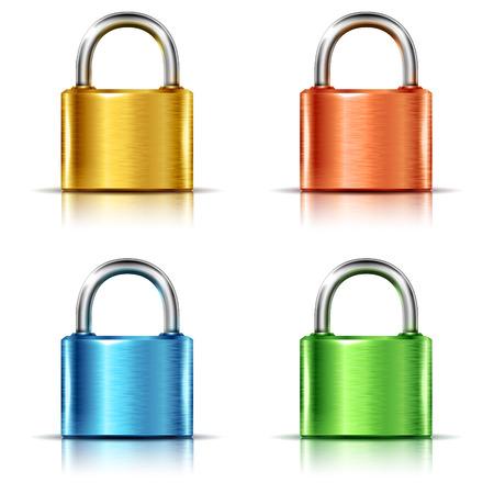 Set of multicolored closed padlocks, isolated on white Illustration
