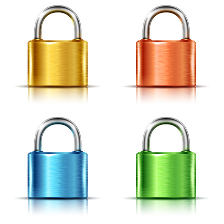 Set of multicolored closed padlocks, isolated on white Vettoriali