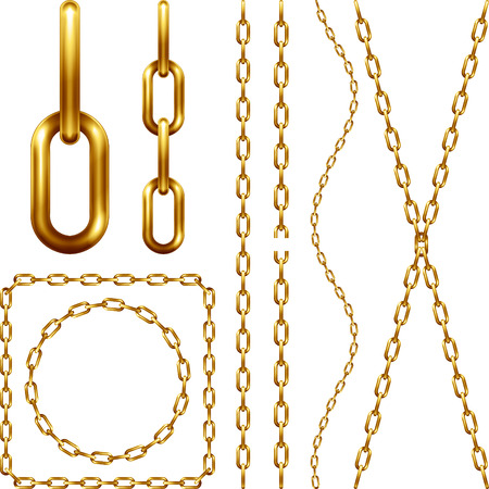 Set of golden chain, isolated on white  イラスト・ベクター素材