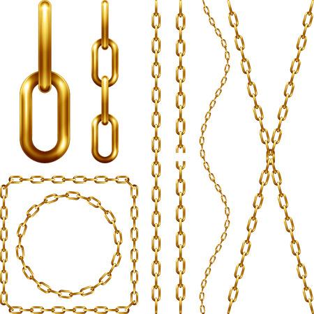 Set of golden chain, isolated on white Vettoriali
