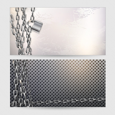 metal chain: Two vector horizontal banners - metal chain and padlock on a gray metal background Illustration