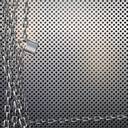 Abstract vector background - metal chain and padlock on gray metal background with perforated texture