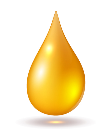 oil drop: Yellow drop isolated on white, vector icons
