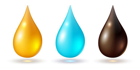 drop of water: Set of multicolored drops, isolated on white, vector icons