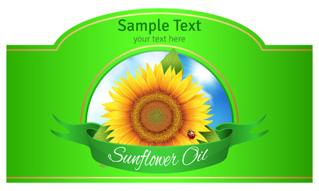 packing tape: the label on the bottle of sunflower oil