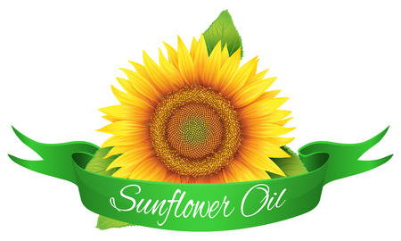 The label on the bottle of sunflower oil, isolated object