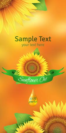 semillas de girasol: la etiqueta de la botella de aceite de girasol Vectores