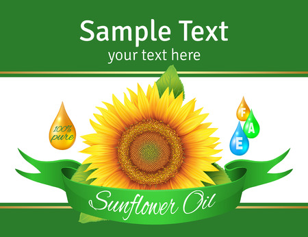 het etiket op de fles zonnebloemolie