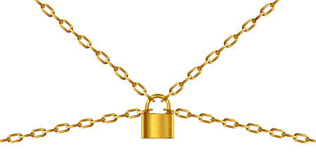 safest: Golden chain and padlock, isolated on white