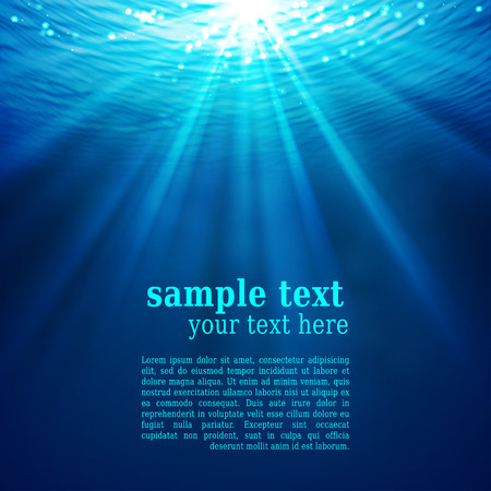 blue sea: Abstract underwater background with sunlight Illustration