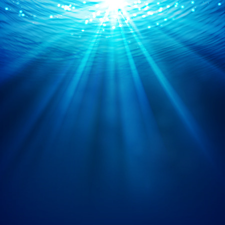 Abstract underwater background with sunlight Çizim
