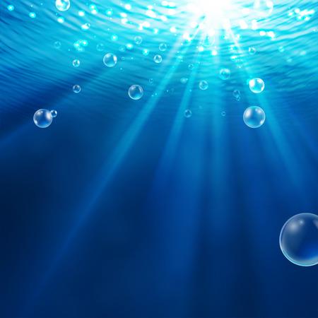 Vector - abstracte onderwater achtergrond met zonlicht en luchtbellen in het water