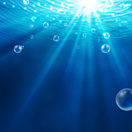 Vector -- abstract underwater background with sunlight and air bubbles in water Vettoriali