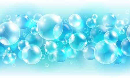 Vector - Abstract cyan seamless border with air bubbles