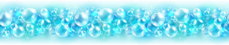 air bubbles: Abstract cyan seamless border with air bubbles
