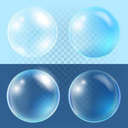 oxigeno: Conjunto de vector de burbujas transparentes Vectores