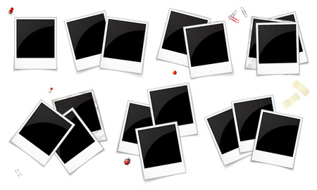 Set Of Empty Photo Frames Stacked By Some Ones, Isolated On White ...