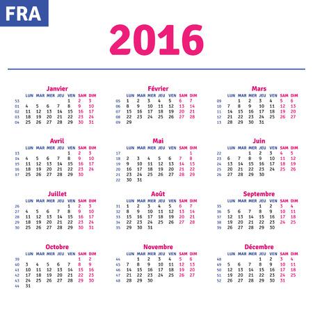 quarterly: French calendar 2016, horizontal calendar grid, vector